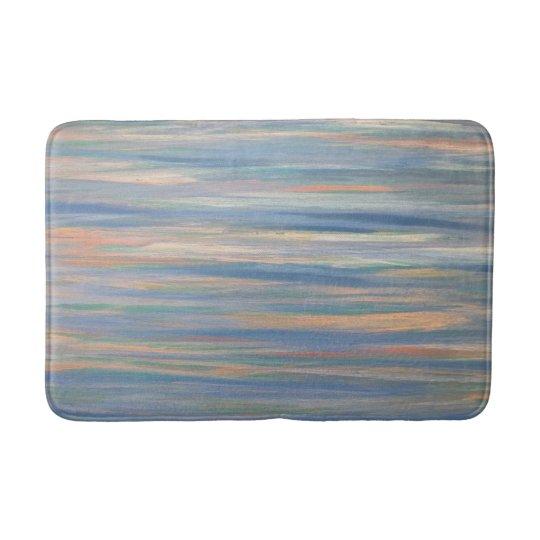 Vulnerable Peach Orange Gold Blue Striped Bath Mat