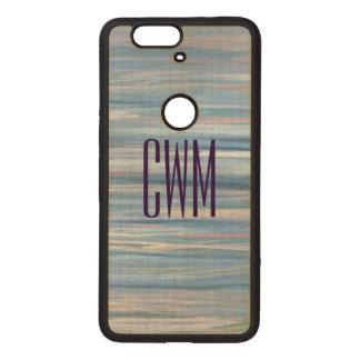 Vulnerable Tech | Monogram Blue Peach Silver | Wood Nexus 6P Case