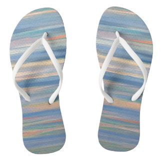 Vulnerable Unique Peach Gold Blue Neutral Striped Flip Flops