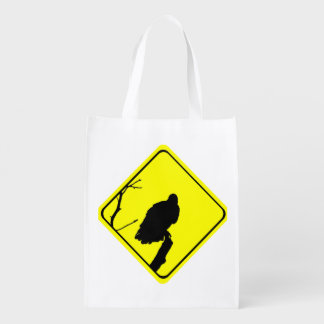 Vulture Crossing Bird Silhouette Crossing Sign Reusable Grocery Bag