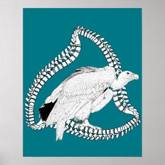 Vulture in spine frame poster