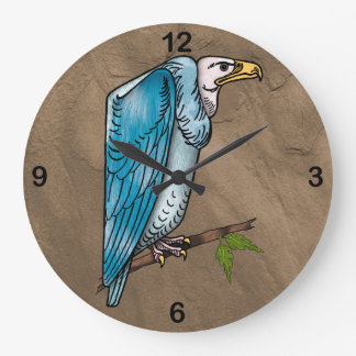 Vulture Perched Near Cliff Large Clock
