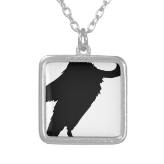 Vulture Sitting Silver Plated Necklace