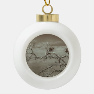 Vultures at Top of Leaveless Tree Ceramic Ball Ornament