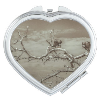 Vultures at Top of Leaveless Tree Makeup Mirrors