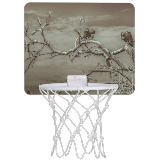 Vultures at Top of Leaveless Tree Mini Basketball Hoop