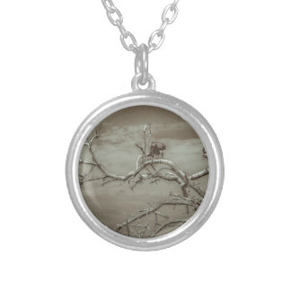 Vultures at Top of Leaveless Tree Silver Plated Necklace