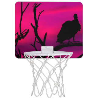 Vultures at Top of Tree Silhouette Illustration Mini Basketball Hoop