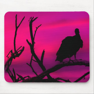 Vultures at Top of Tree Silhouette Illustration Mouse Pad