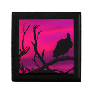 Vultures at Top of Tree Silhouette Illustration Trinket Box