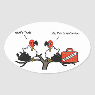 Vultures Carrion Carry-on Luggage Cartoon Oval Sticker
