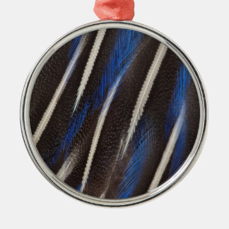 Vulturine Guineafowl feather Silver-Colored Round Ornament
