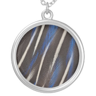 Vulturine Guineafowl feather Silver Plated Necklace