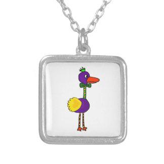 VW-Colorful Funny Dodo Bird Cartoon Square Pendant Necklace