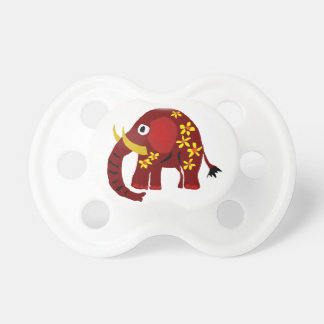 VW- Elephant and Daisies Primitive Art Baby Pacifier