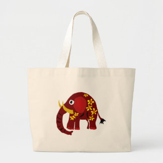 VW- Elephant and Daisies Primitive Art Jumbo Tote Bag