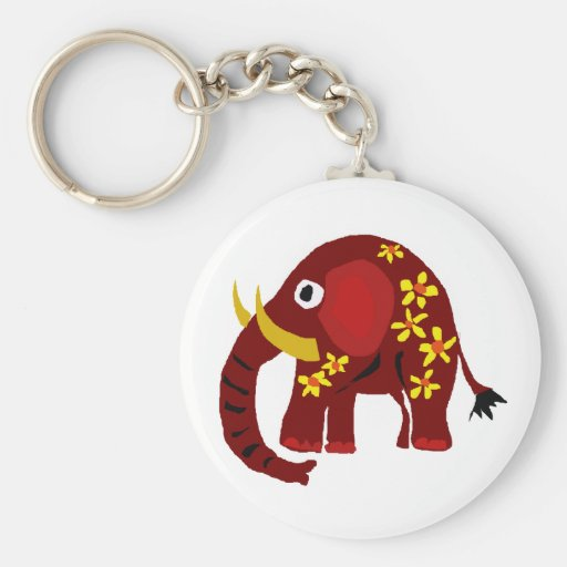 VW- Elephant and Daisies Primitive Art Key Chains