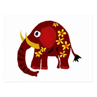 VW- Elephant and Daisies Primitive Art Postcard