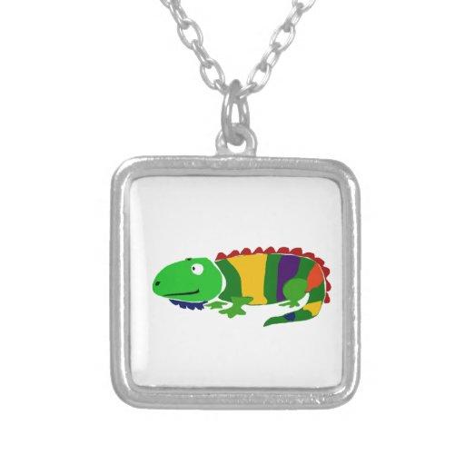 VW- Funky Primitive Art Iguana Custom Necklace