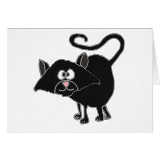 VW- Funny Black Cat Cartoon Greeting Card