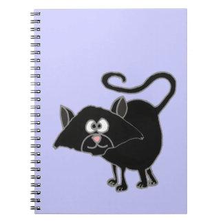 VW- Funny Black Cat Cartoon Spiral Notebook