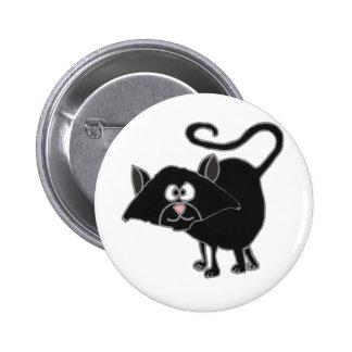 VW- Funny Black Cat Cartoon Pinback Buttons