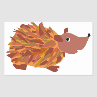 VW- Funny Colorful Hedgehog Rectangular Stickers