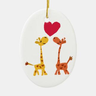VW- Funny Giraffe Love Cartoon Ceramic Oval Ornament