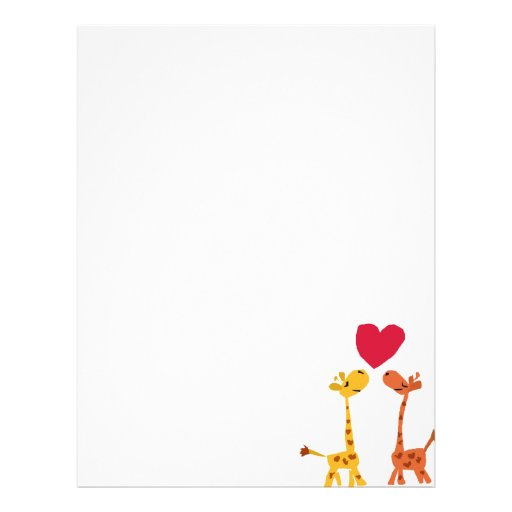 VW- Funny Giraffe Love Cartoon Personalized Letterhead