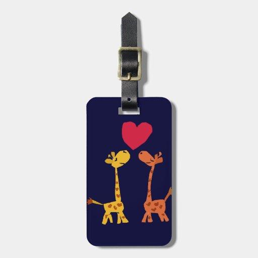 VW- Funny Giraffe Love Cartoon Travel Bag Tag