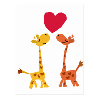 VW- Funny Giraffe Love Cartoon Postcard