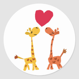 VW- Funny Giraffe Love Cartoon Round Sticker