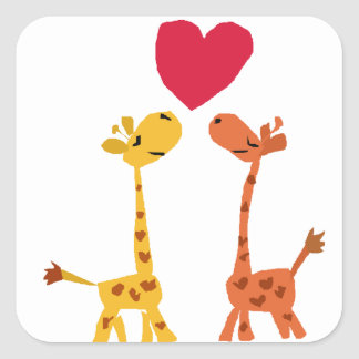 VW- Funny Giraffe Love Cartoon Square Sticker