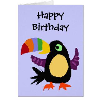 VW- Funny Toucan Bird Primitive Art Greeting Card