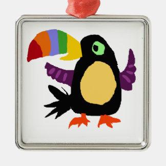 VW- Funny Toucan Bird Primitive Art Silver-Colored Square Ornament