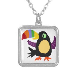 VW- Funny Toucan Bird Primitive Art Square Pendant Necklace