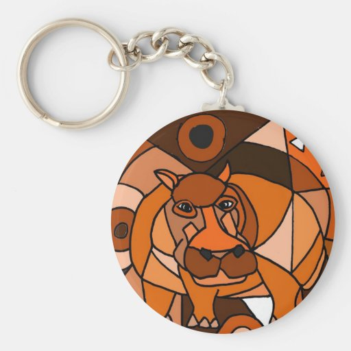 VW- Hippo Abstract Art Design Keychains