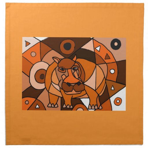 VW- Hippo Abstract Art Design Printed Napkin