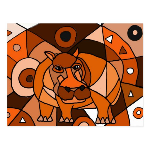 VW- Hippo Abstract Art Design Post Card