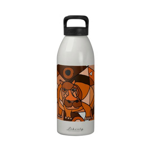 VW- Hippo Abstract Art Design Reusable Water Bottle