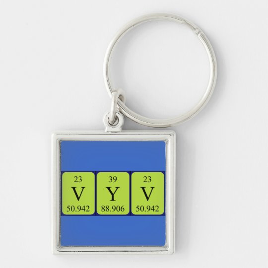 Vyv periodic table name keyring Silver-Colored square keychain