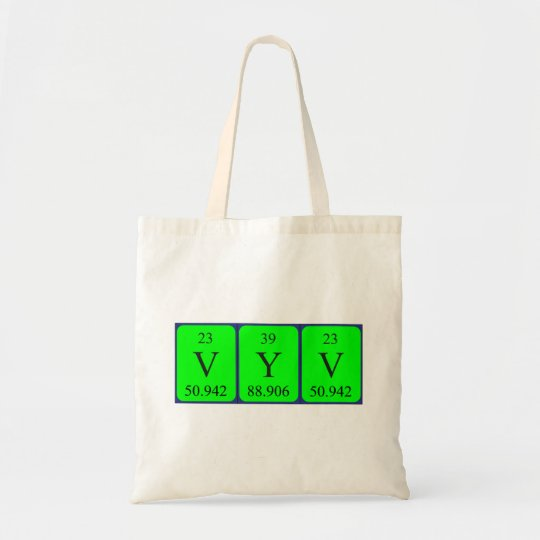 Vyv periodic table name tote bag