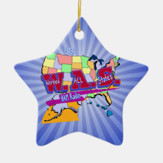 W.A.S. HAM RADIO WORKED ALL STATES CERAMIC ORNAMENT