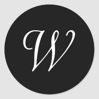 W Cursive Wedding Monogram Black White Stickers
