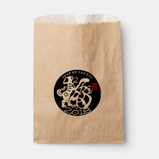 W Dog Papercut Chinese New Year 2018 Kraft Favor B Favour Bag
