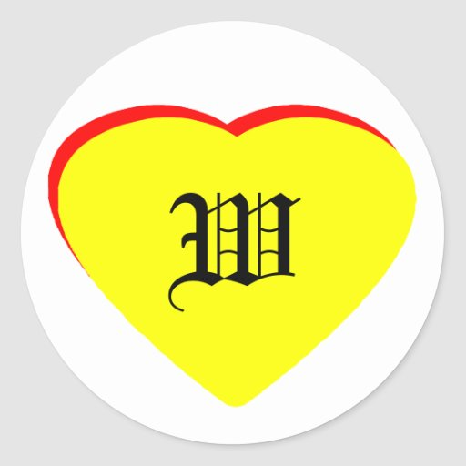 """W"" Heart Yellow Red Wedding Invitation The MUSEUM Round Sticker"