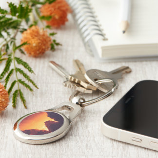 w in weather Silver-Colored oval keychain