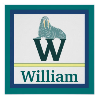 W is for Walrus and Boy Name Wall Art for Kids