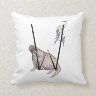 W is for Walrus and Wisteria! Throw Pillow