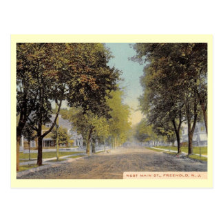 W. Main St., Freehold, New Jersey Vintage Postcard